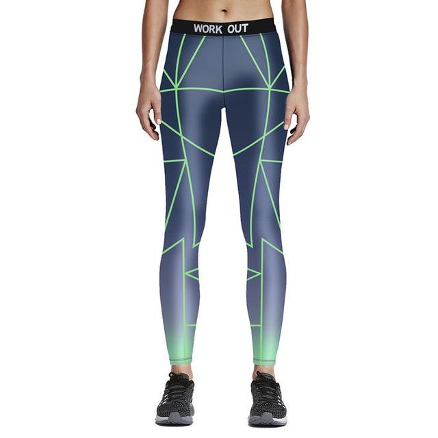 2016 High Quality Women Fitness Leggings Gradient Printed Color Full Length Pants Sporting Leggins 7 Color Jeggings Trouser