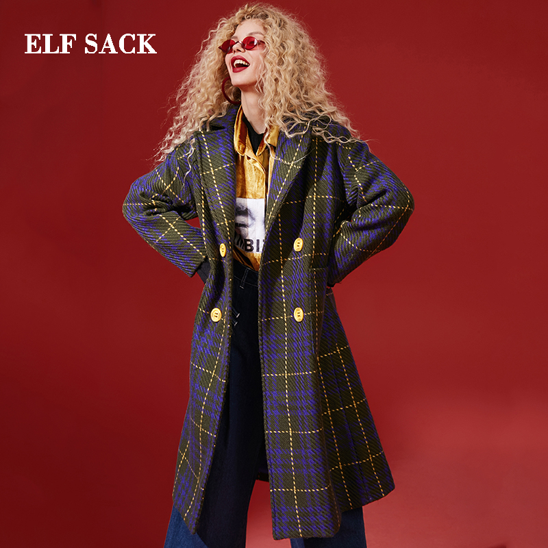 ELF SACK Winter New Fashion Wool Coats Woman Blends Casual Wide waisted Turn down Collar Femme