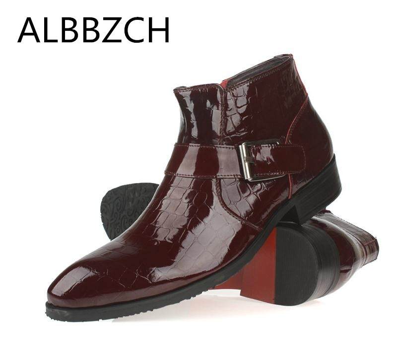 Patent leather men boots autumn winter fashion shoes mens pointed toe wedding dress shoes ankle boots business office work bootsPatent leather men boots autumn winter fashion shoes mens pointed toe wedding dress shoes ankle boots business office work boots