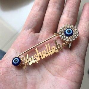 Image 2 - Islam Maşallah Paslanmaz çelik broş türk nazar İslam müslüman bebek pin damla nakliye kabul