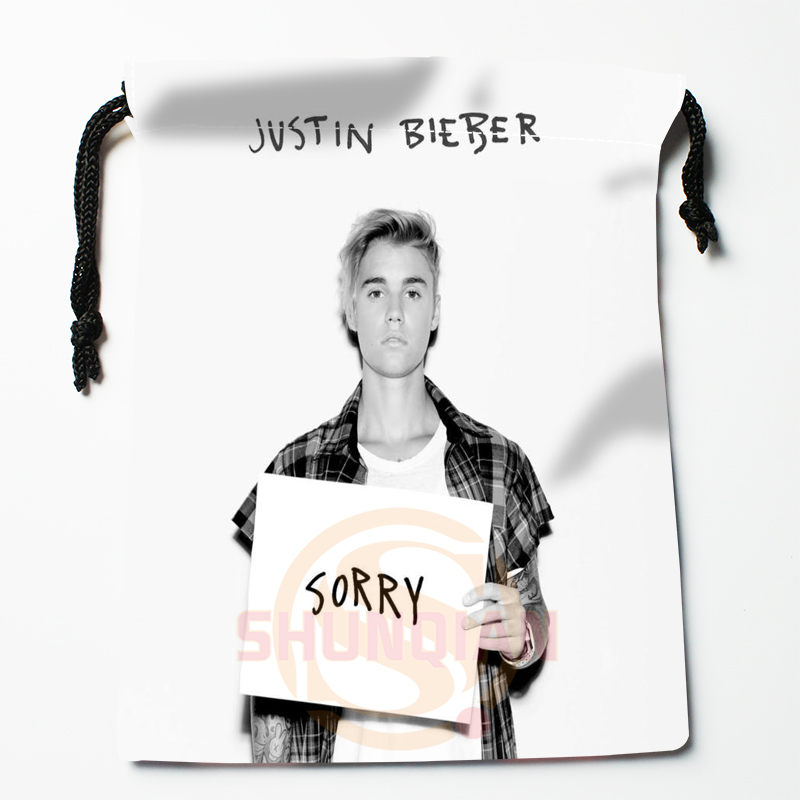 New Justin Bieber Printed Storage Bag 27x35cm Satin Drawstring Bags Compression Type Bags Customize Your Image Gifts