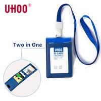 Uhoo 6834 Натуральная кожа ID карта бейдж держатель с шейный ремешок/ремешок для работы ID и бумажник для женщин и мужчин