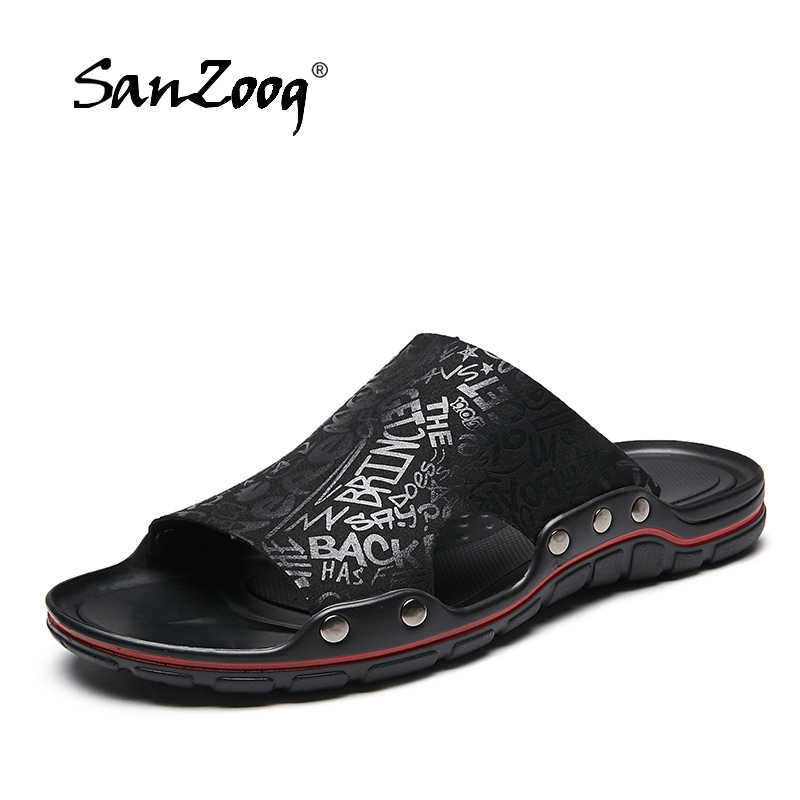ae328176867 2019 New Men Slippers Super Cool Fashion Men s Slides Summer Beach Leather  Slippers Man Casual Sandals