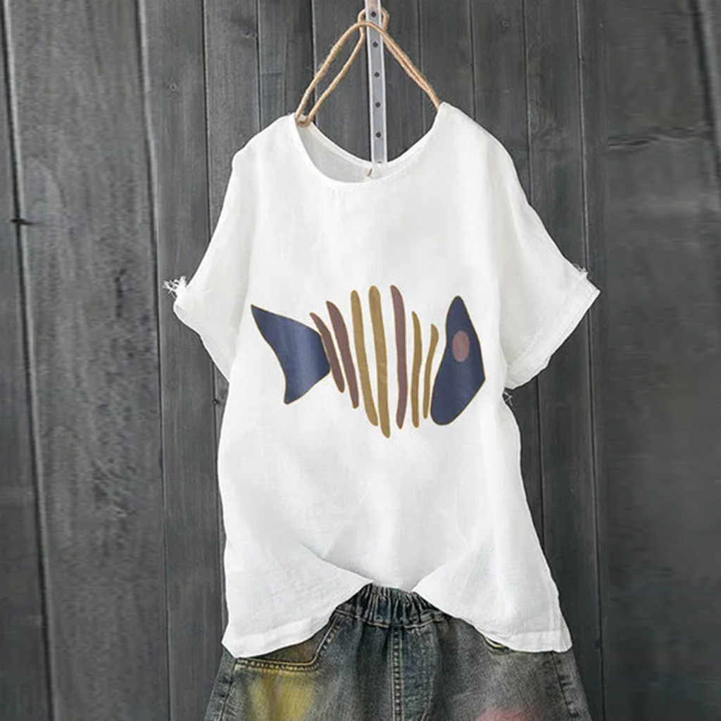 Feitong プラスサイズ女性ブラウス Blusas Bordadas 原宿 футболка женск 半袖 O ネックかわいい魚プリントブラウストップクールシャツ