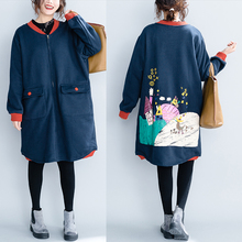 QoerliN Large Size Jacket Coat Ladies Fashion Zipper Printed Long Overcoat Girls Pocket Harajuku BF Loose Casual Outerwear Women недорого