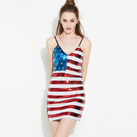 Real shot new sexy sling stage costume performance service American flag stripe pattern sequin dress costume women