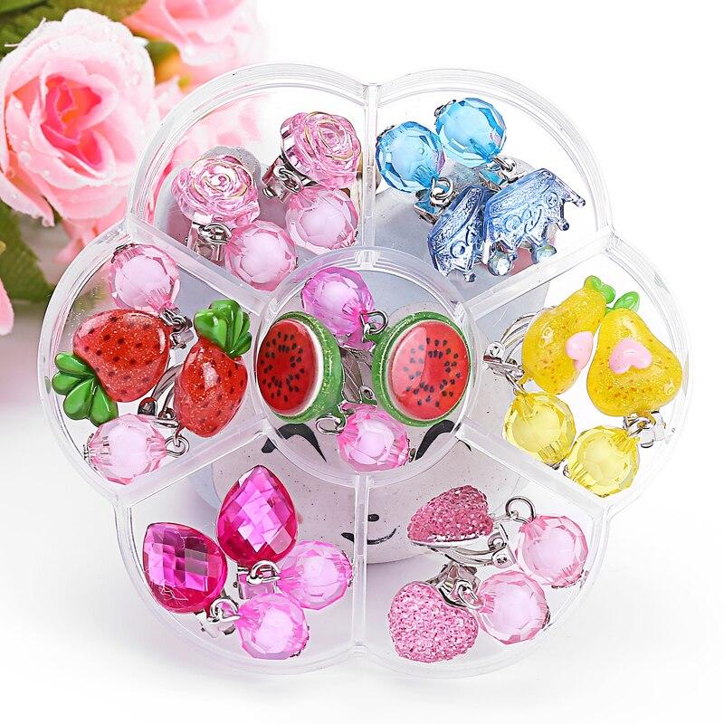 Baby Girl Jewelry Cartoon Fruit Shape Children Girl Earrings Clip Princess Sweet Clip Earrings Jewelry Girl Jewelry Gift Set