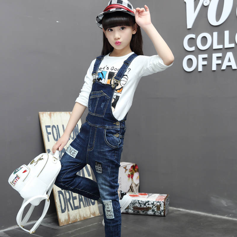 Overall Girls Denim Strap Jumpsuit 2017 Spring Autumn New Children Cotton Suspenders Pant High Quality Jeans Overalls spring summer autumn winter women jeans overalls suspenders trousers spaghetti strap denim pants frock jumpsuit blue calca jeans