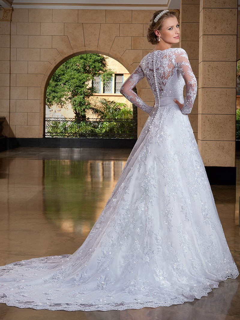 Aliexpress Buy 2017 Vestido De Noiva Sexy Long Sleeve Lace Wedding Dresses Bridal Gown Buttons Novia Robe Mariage YN9988 From