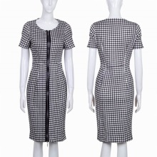 Women Elegant Tartan Formal Party Summer Pencil Sheath Dress with Front Zipper