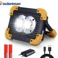 100 W linterna LED portátil COB luz de trabajo reflector impermeable USB recargable banco de energía para iluminación al aire libre