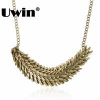 2016 New Simple Design Unique Necklace Leaf Pendant Antique Gold Plating Necklace SDatement Necklace Beautiful Design
