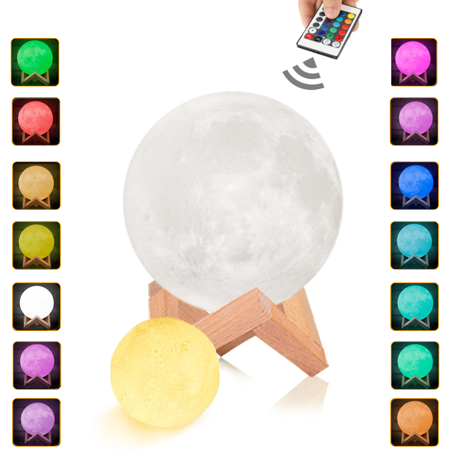 Rechargeable Moon Light 3D Print 16 Colors Remote Control Touch Switch Luna Lampara Luna 20cm Brightness Adjust Decoration Lamp