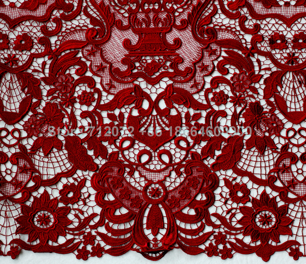 La Belleza Défilé de mode de haute qualité brodé robe de mariée / mariage blanc / bleu / rouge / dentelle / dentelle par yard