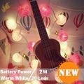 20 Led 6 CM Bolas de Algodón Con Pilas de Hadas Luces de Cadena 2 m LED Decoración de la Guirnalda De la Navidad del Año Nuevo gerlyanda