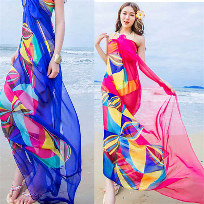 6e9e74aad6ec4 ... Women Bikini Beach Wear Hot Summer Beach Sarongs Chiffon Scarves  Geometrical Design Swimsuit Cover Up Dress ...