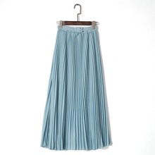 Spring Bohemian Pleated Maxi Skirts Womens MT