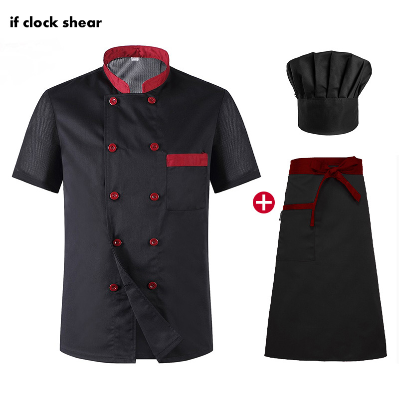 Food Service Unisex Short Sleeved Restaurant Chef Uniforms Hotel Kitchen Chef Work Clothes Breathable Catering Jacket+Hat+Apron