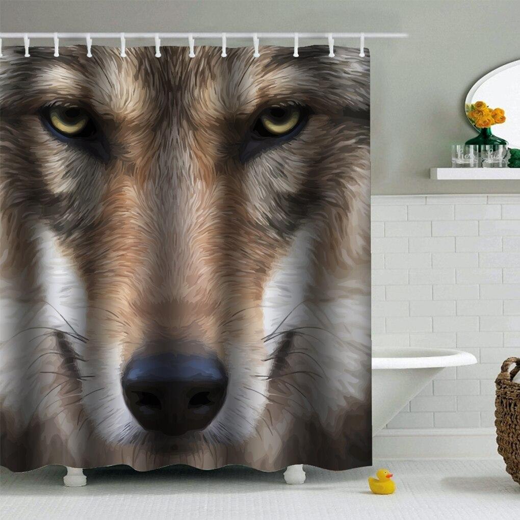 180x180cm 200x200cm PEVA Cat Dog Print Shower Curtains Waterproof Moistureproof Home Bath