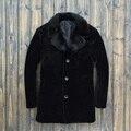 Envío gratis 2015 moda 2015 hombres de negocios de invierno esquila de ovejas de piel cuello de visón Men ' s piel hombres de la chaqueta de las chaquetas de cuero de