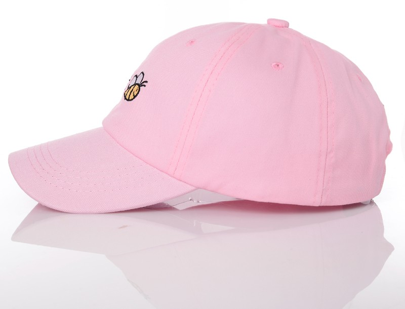 Let It Bee Baseball Cap - Pink Cap Side View