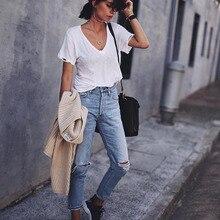 Nellbang отверстие высокой талии прямые джинсовые женские Штаны бойфренда стиль моды лодыжки длина промывают Штаны Новинка 2017