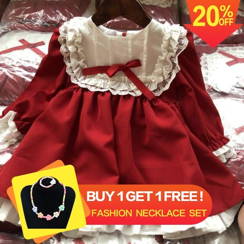 christmas Dress for Girls Dress red Lace Princess dress long sleeve Girls christmas clothes for girl costume Party dress christmas lace yoke swing dress