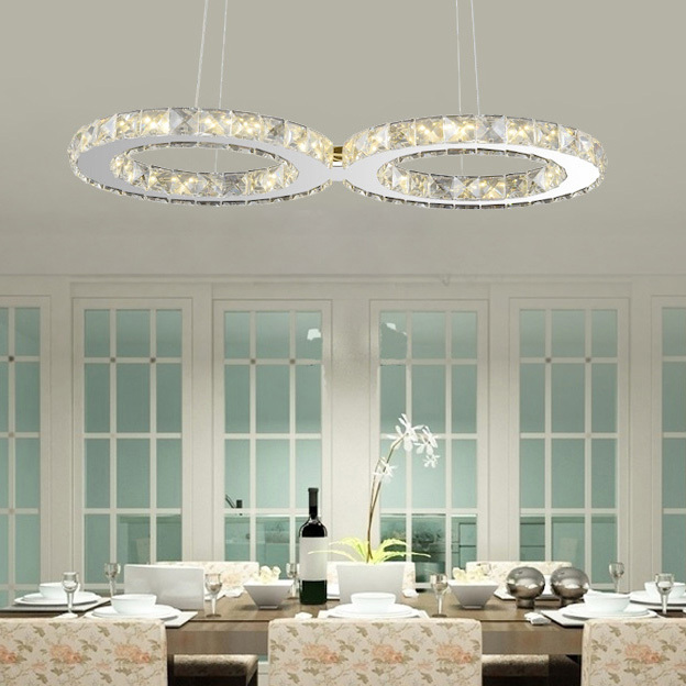 Ecolight Modern Led Crystal Pendant Light Stainless Steel Transparent Crystal 24W 90-265V Pendant Lamp for Dinning Room