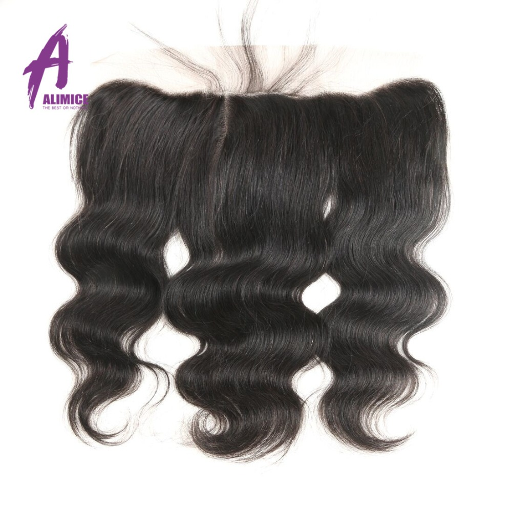 Alimice Lace Frontal Closure Indian Hair Body Wave 13x4 FreeMiddleThreeSide Part Human Hair Closure With Baby Hair 8-24inch (12)
