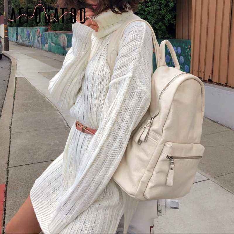 Affogatoo エレガントな白ニットドレス女性タートルネック秋ブルーセータードレスファムカジュアル休日女性の冬のショートドレス