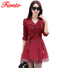 New Trench Coat Women Slim Double-Breasted Trenchcoat Lace Especially Female Cas