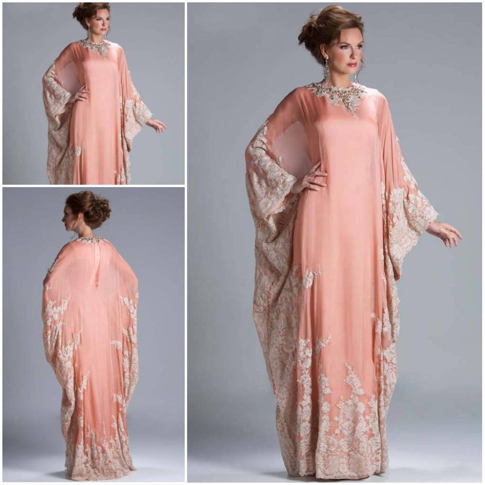 Custom Made Floor Length Chiffon Coral Lace Appliqued Arabic Dubai ABAYA Kaftan Evening Dresses Long Sleeve JQ3309 - Suzhou dreamybridal Co.,LTD store
