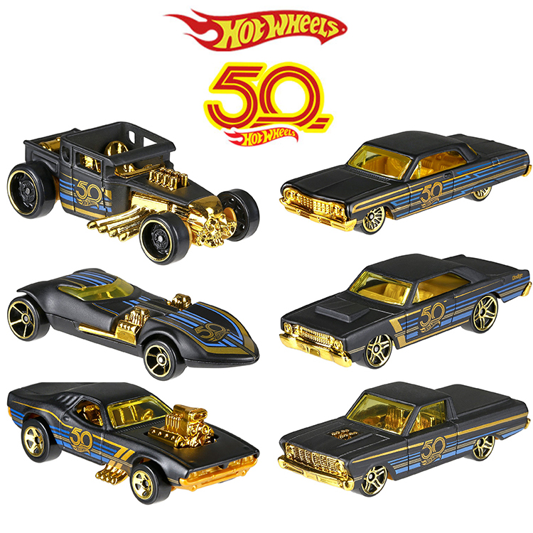 2018 Hot Wheels Car Collector's Edition 50th Anniversary Black Gold Metal Diecast Cars Toys Vehicle For Children Juguetes FRN33