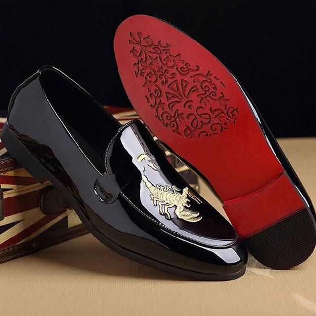 م-القلق u الحيوان طباعة أحذية من الجلد الموضة الكلاسيكية دوغ حذاء رجالي الأعمال أشار تو جلدية مشرق الزفاف حذاء مسطح