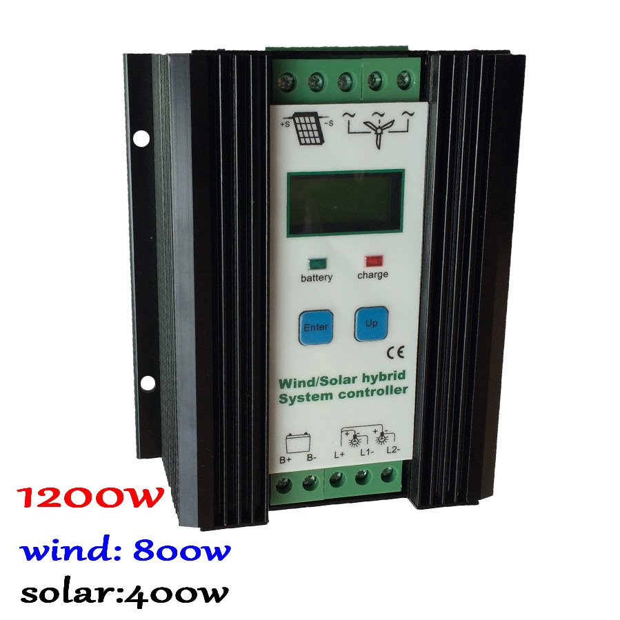 Wind Solar Hybrid Controller 80A 1200W MPPT Solar Power 400W, Wind Generator 800W, 12V 24V Intelligent Hybrid Charge Controller 600w wind solar hybrid controller 400w wind turbine 200w solar panel charge controller 12v 24v auto with big lcd display