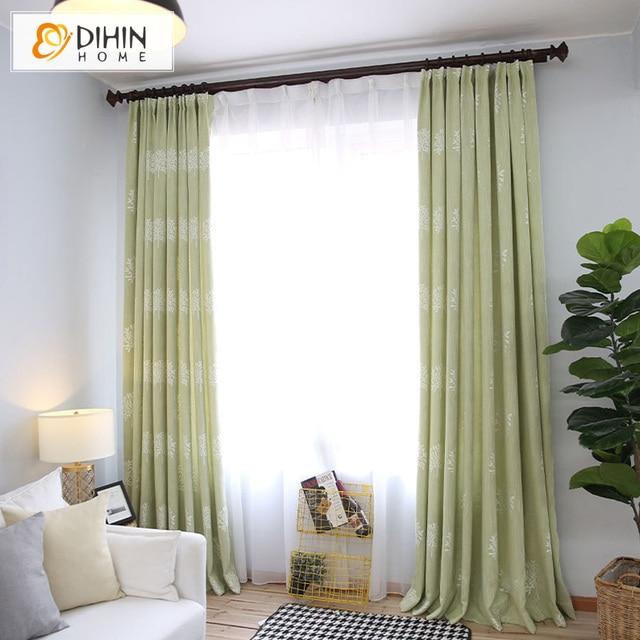 dihin casa cor verde impresso cortinas blackout quarto