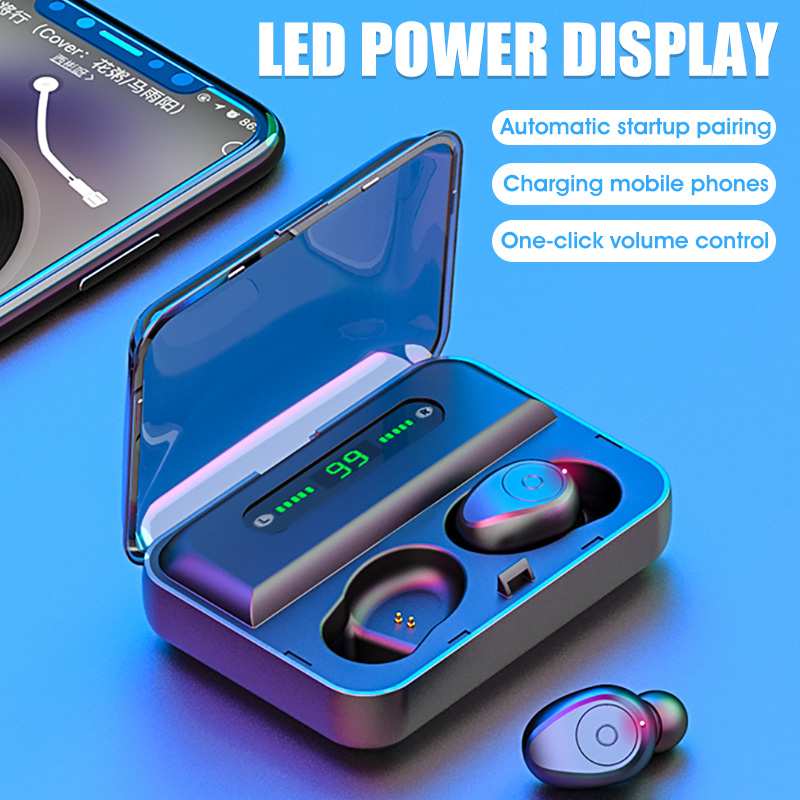 F9 TWS airdots wireless earphones bluetooth super bass headphones sports earbuds with 1200mAh charging box LED display battery
