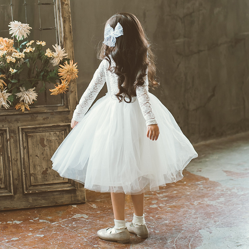 Kids Girls Lace Dress Baby Girl White Birthday Party Dresses Children Fancy Princess Ball Gown Wedding Clothes