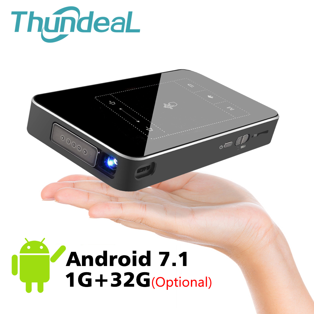 ThundeaL T18 DLP Mini Proiettore Android 7.1 WiFi 8g 32g ROM 3D Supporto 4 k Proiettore Touch Pad batteria 5000 mah Bluetooth HDMI In