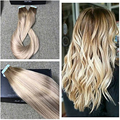 Full Shine Real Human Hair Skin Weft Ombre Color Tape Hair Extensions Balayage Color #3#18#24 High Quality Adhesive Skin Weft