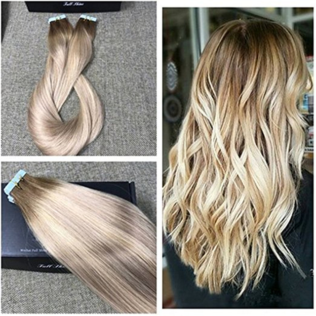 Full Shine Real Human Hair Skin Weft Ombre Color Tape Hair