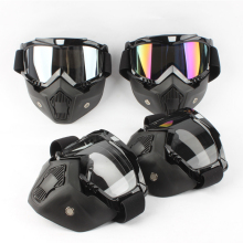 BEON motocycle mask black face mask Modular Detachable goggles Perfect for Open Face Motorcycle Half Helmet or Vintage Helmets