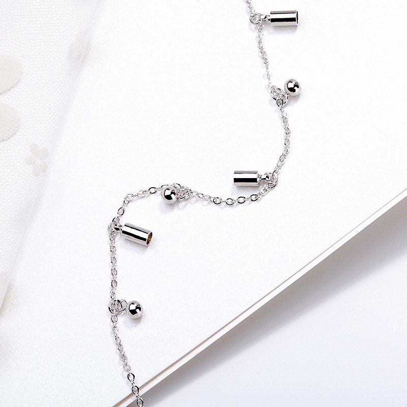 2019 Korean fashion 925 sterling silver foot anklet cylindrical round bead leg bracelet accessories female girl women jewelry 2