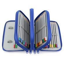 купить 72 Holders 4 Layers Handy Solid Color Square School Pencils Case Large Capacity Colored Pencil Bag Pouch For Student Gift по цене 782.08 рублей