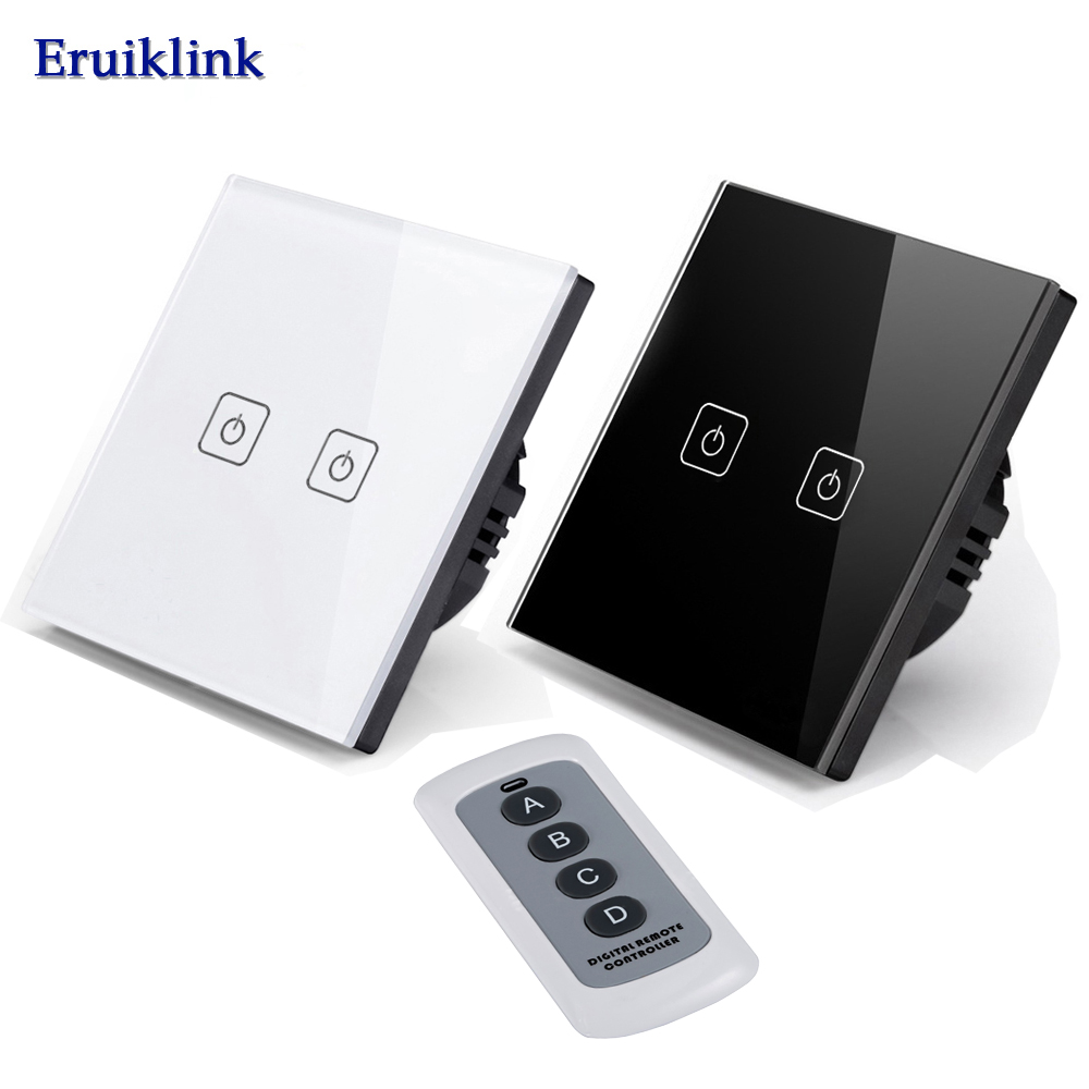 EU/UK Standard Wall Switch,2 Gang 1 Way Light Wireless Remote Control Switch220V White Crystal Glass Switch Panel Markdown sale