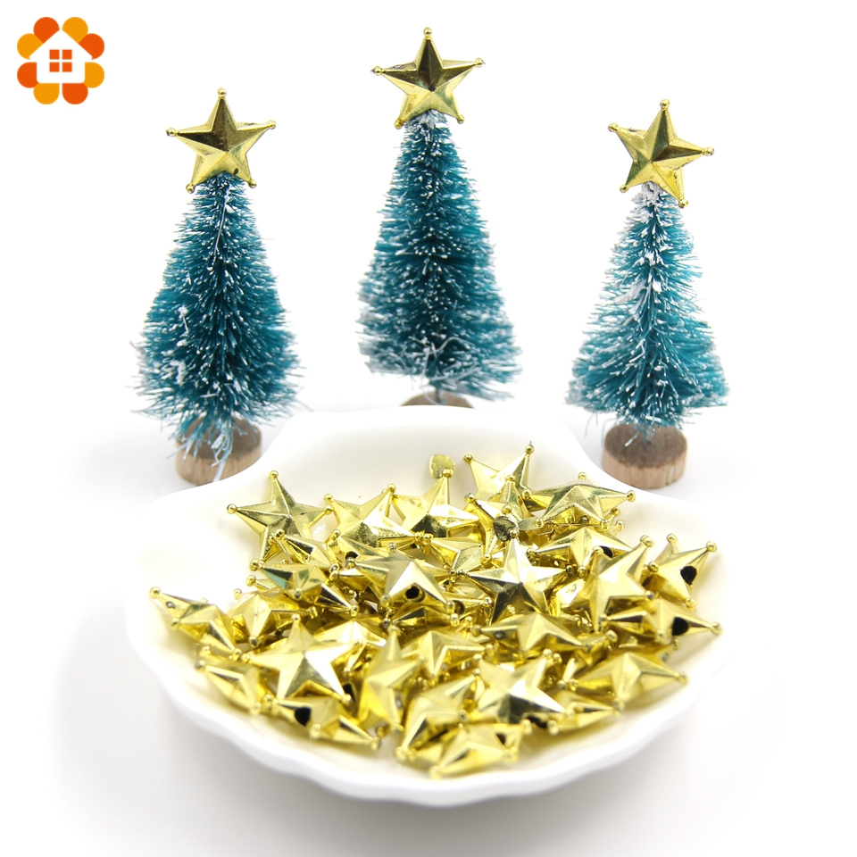 10pcs Lot 2sizes Diy Gold Star Topper Star Christmas Ornaments Xmas Tree Ornament Toppers Diy Craft Christmas Party Decorations