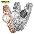 2017 YaQin lujo de las mujeres de moda casual simple reloj de acero inoxidable reloj de cuarzo Relogios Femininos7193