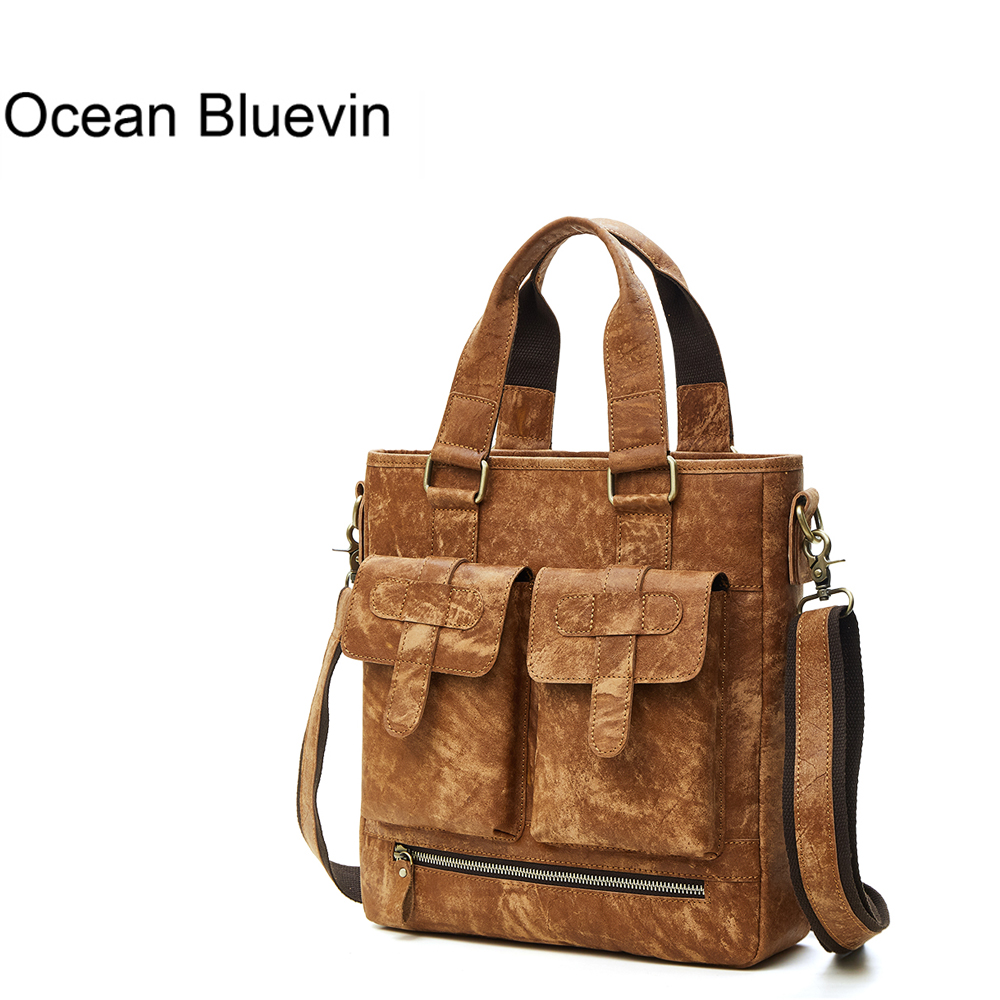 OCEAN BLUEVIN New Genuine Leather Men Bag Crossbody Shoulder Bags Handbags Men's Messenger Bags Leather Bag Fashion Male Handbag stylish metallic and weaving design shoulder bag for women