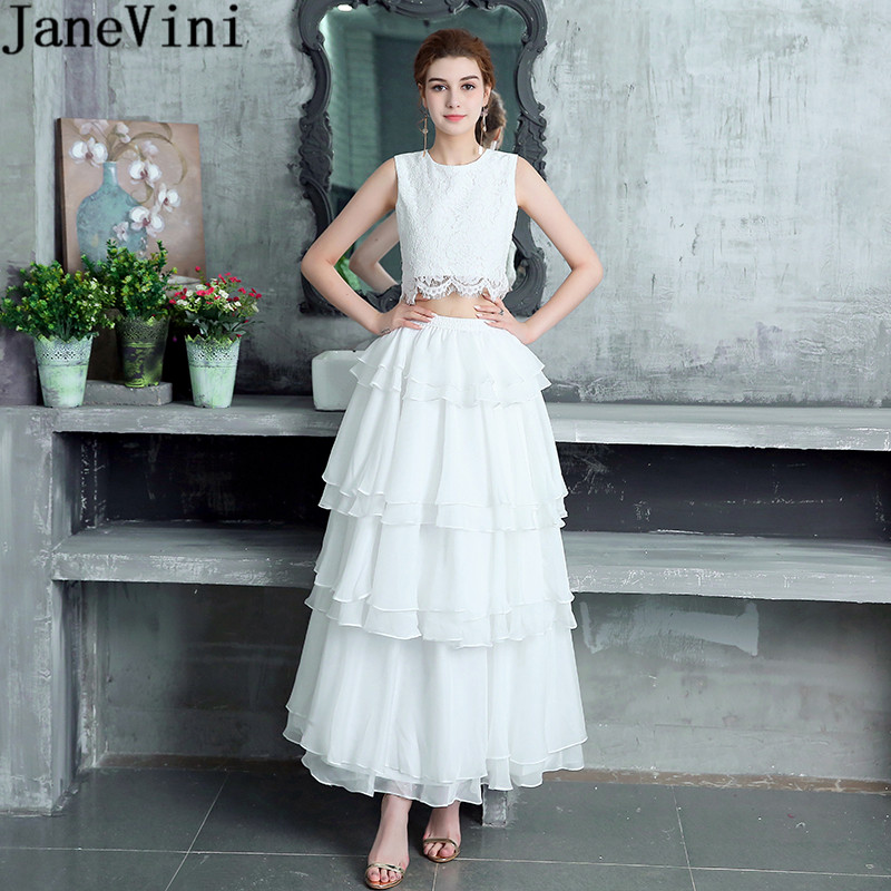 US $137.87 20% OFF|JaneVini White Two 2 Pieces Girls Bridesmaid Dress Plus  Size Lace Chiffon Tiered Prom Homecoming Dresses Long Wedding Party Gown-in  ...