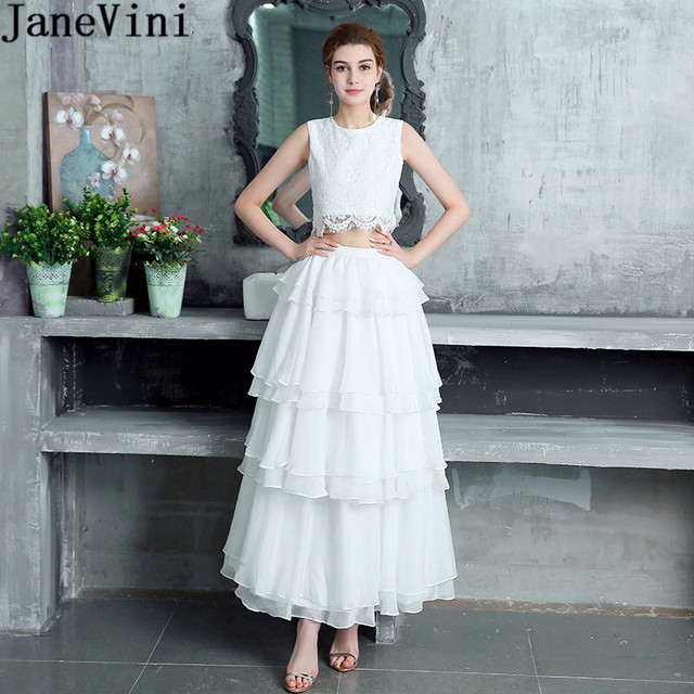 JaneVini White Two 2 Pieces Girls Bridesmaid Dress Plus Size Lace Chiffon Tiered Prom Homecoming Dresses Long Wedding Party Gown